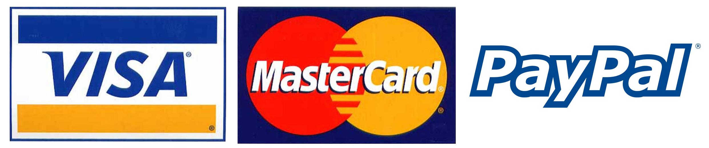 Visa, Mastercard, and PayPal logos